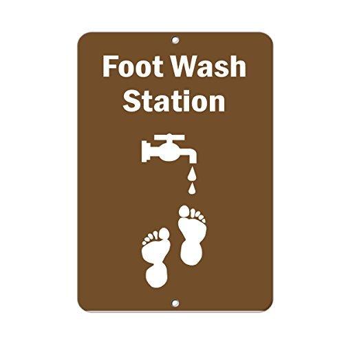 Mount Wash Station (Foot Wash Station Activity Park Neuheit Outdoor Yard Dekorative Aluminium Metall Schild)