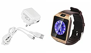 MIRZA Mobile Charger & DZ09 Smart Wrist Watch for PANASONIC GD3 1(Mobile Wall Charger||Travel Charger||With Power Adapter||Mobile Charger||With Seperate Data Cable||USB Cable||Data Transfer Cable & Bluetooth DZ09 Smart Wrist Watch With Camera||With 3G & 4G SIM Support||Best Selling Premium Quality Lowest Price with Apps like Facebook, Whatsapp, Twitter, Sports, Health, Pedometer)