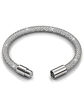 Charme Armband Silber Netzwerk Solid Schnur Anhänger Gefüllt mit Zirkonia Set von Swarovski Geschenk für Dame...