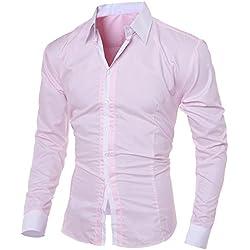 ZODOF Camisa de Hombre Moda Personalidad Manga Larga Ajustado Clásico Básica Botón Formal Negocio Camisa Casual Camiseta Tops Blusa para Hombre