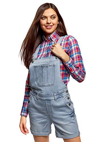 oodji Ultra Damen Kurze Jeans-Latzhose mit Zierknöpfen, Blau, DE 40 / EU 42 / L