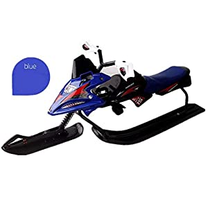 ZDAMN Folding Schlitten Moto Racer Rennen Schlitten Snowboard Outer Rim Tretroller Fahrt auf Spielzeug Schnee Skipiste Easy Grip Griff (Farbe : Blau, Size : 125x60x50cm)