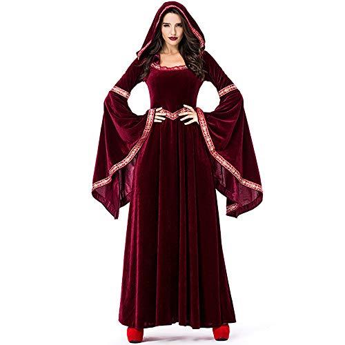 Kostüm Samt Hexe - WANLN Burgunder Samt Lange Kleider Frauen Halloween Party Cosplay Vampire Kostüm Retro Court Sorcerer Uniform Hexe Kostüme,Rot,M
