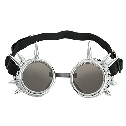 JCHUNL Mode Silber Steampunk Brille Spikey Burning Man Kostüm Cosplay Gothic Punk New (Et Kostüm Lenker)