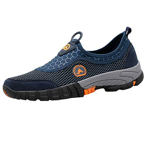 97f1fcb2f6ea8 Men Athletic Mesh WalkingShoes, Lightweight and Breathable Slip-on Sneakers  Outdoor Mountaineering Sports Shoes by LILICAT Blue