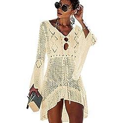 Kfnire Traje de baño de Las Mujeres Bikini Traje de baño Vestido de Playa Crochet (E- Beige)