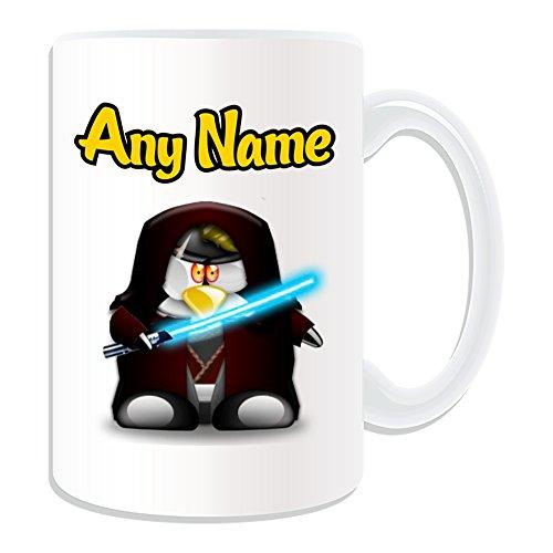 Personalisiertes Geschenk, großer Anakin Skywalker Tasse (Pinguin Film Charakter Design Thema, weiß)–Jeder Name/Nachricht auf Ihre Einzigartiges–Kostüm Film Superheld Hero Star Wars Jedi Lichtschwert Laser Sword Darth Vader