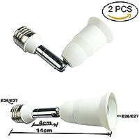 dzydzr 2pezzi bianco lungo 14cm prolunga E27a E27Extender Base Adapte per lampade a led (5,5IN)