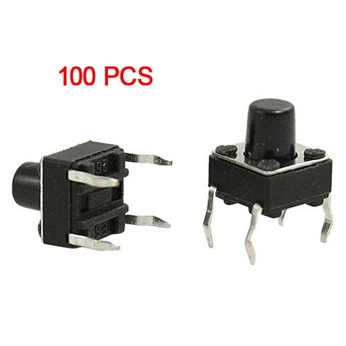 SODIAL(R) 100 x Interruptor de Boton Momentaneo Tactil 6x6x7mm 4 Pin DIP...