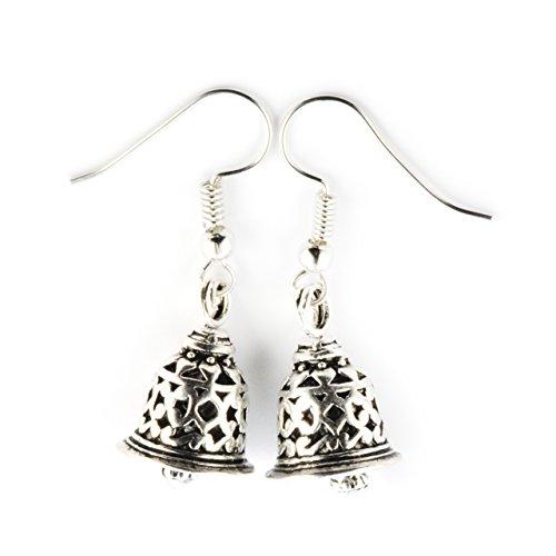SCHMUCKZUCKER Damen Ohrhänger Glocke Schelle Modeschmuck Weihnachtsschmuck silber-farben