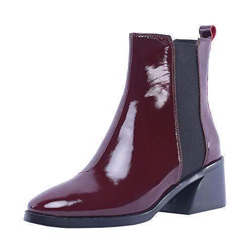 4709360c541b9e Y2Y Studio Bottes Femmes de Pluie Chaussures de Cheville Vernis Brillant  Slip-on A Enfiler