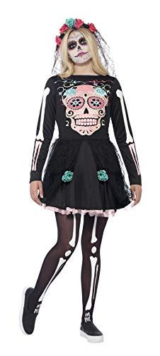 �dchen Zuckerschädel Kostüm, Kleid und Kopfbedeckung, Größe: XS, 44341 ()