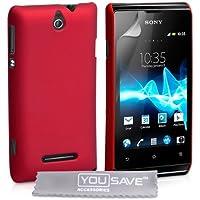 Yousave Accessories Hybrid-Schutzhülle Hartschale für Sony Xperia E–Rot
