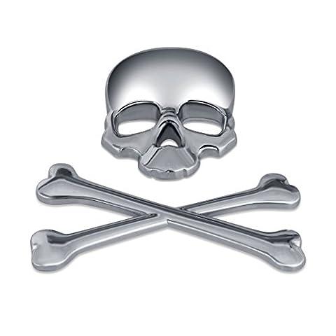 1pcsx Argent 3d 3m Skull Métal Skeleton Crossbones Design Autocollant Voiture Étiquette Crâne Badge Emblem Moto Bike