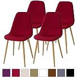 Albatros FANO Set de 4 retro sillas de comedor Rojo, SGS probado