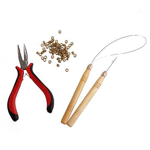 Haarverlängerungszangen & Zughaken Nadel Mikroringe Perlen Schleife Tools Kit (Haarverlängerung Nadel-tool)
