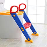 Krevia VelKro Kid's Toilet Potty Trainer Seat Toddler with Ladder Step up Training Stool (Multicolour, Colour May Vary)