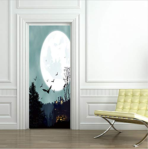 ll Aufkleber Tapete Witch Scarecrow Decal Wall Door Sticker Party Halloween Decoration 77x200cm77*200 Cm ()