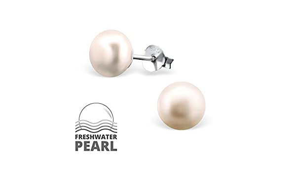 ICYROSE 925 Sterling Silver Freshwater 7mm White or Pink Pearl Childrens Stud Earrings Girls 6928
