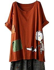 Tallas Grandes de Manga Corta Impresas para Mujer - Mujeres Verano Color SóLido Empalme Cuello Redondo Camiseta Suelta