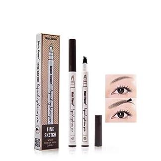 Tattoo Eyebrow Pen con cuatro puntas duraderas Pencil puntas de tenedor Impermeable y duradero Lápiz de cejas Ink Sketch Eyebrow para Maquillaje (01# castaña)