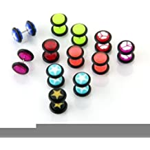 10 x Piercing para Oreja Acrilico Acero Inoxidable Estrella Multicolor