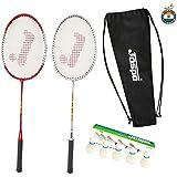 Jaspo GT 303 Intact Sliver/Red Badminton Set(2 Badminton Racket, Feather Shuttle Cork,Carry Bag)
