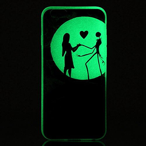 iPhone SE/5S/5 Luminous Hülle (Mit Frie HD Displayschutzfolie) Leuchtende Silikone Rückhülle Für iPhone SE/5S/5 Silikon Gel Etui Handy Hülle Weiche Transparente Luminous TPU Back Case Tasche Schale Le Nightmare Before Christmas