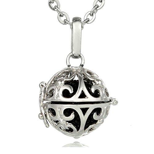 Morella® Damen Halskette Edelstahl 70 cm mit Ornament Anhänger und Klangkugel Zirkonia schwarz Ø 16 mm in (Lange Schwarze Engel Flügel)