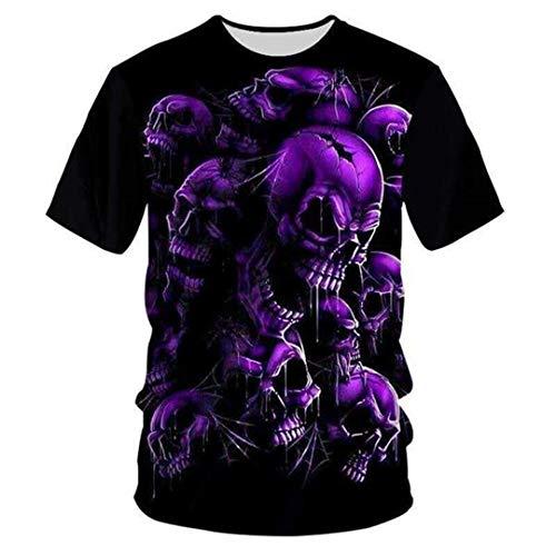 Einzigartiges 3D-T-Shirt mit Totenkopf-Print für Männer in Lila Hip Hop Tees Streetwear t Shirt 6XL