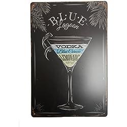 Blue Lagoon Cocktail Tin Sign–Placa metálica diseño Retro Vintage para pared 20x 30cm decorativo–ideal para Pub bar Office Hogar Dormitorio Comedor Cocina–Cool Classic Shabby Chic de regalo presente