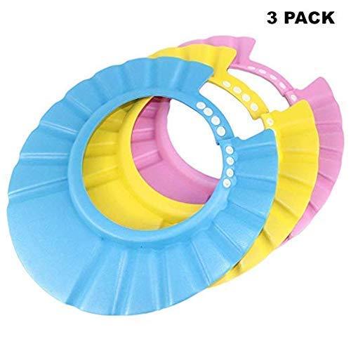Paquet de 3 shampoing douche bain bébé bonnet de protection doux visière réglable souple douce...