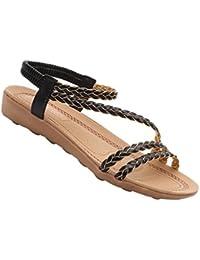 Flip-Flop-Sandalen für Damen, Strassbesatz, flacher Keilabsatz, Zehensteg, für Sommer, Strand, zum Ausgehen, Mehrfarbig - braun - Größe: 40