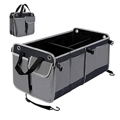 HiHiLL Kofferraumtasche Auto Kofferraum, Faltbare Wasserdicht und Rutschfest Ideal für Auto, SUV, Minivan, Truck, Zuhause, Büro, 65 * 35,5 * 32,5 cm Größe, 12 Taschen, 3 Fächer