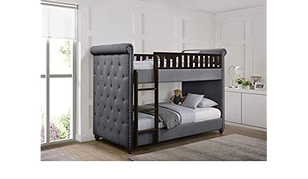 Ava Children S Linen Fabric Chesterfield Fabric Wooden Bunk Bed
