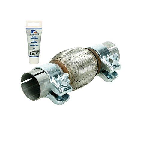 Universal Flexrohr - 45 x 100 mm - mit 2 Schellen - aus Edelstahl - Interlock - Montage ohne Schweißen + Auspuff-Montagepaste 60g - flexibles Rohr - Flexstück Wellrohr Hosenrohr Auspuff Abgasanlage