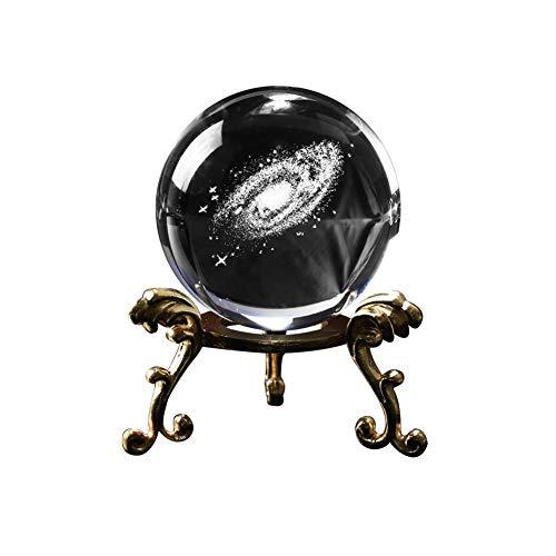 Galaxy Kristallkugel Glaskugel mit 3D Laser Gravierte Sun System Dekorative Planet Miniaturen mit Metallständer Büro Dekoration Ornament Geburtstagsgeschenk