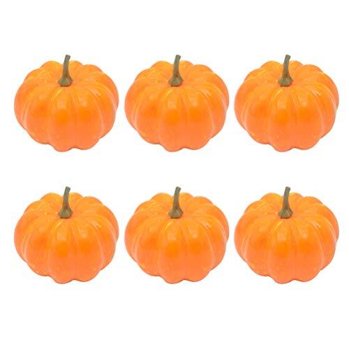 Amosfun 12pcs künstlicher Kürbis-Schaum-Kürbis für Halloween-Fall und Erntedank-Dekorations-Orange (Mit Halloween-basteln Mini-kürbisse)