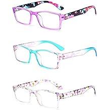 Inlefen Gafas de lectura de 3 pares Gafas unisex diseñadas con estilo para leer 3 colores