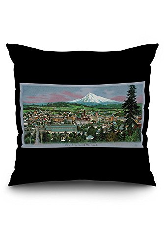 Portland, Oregon - Aerial View of City and Mt. Hood, Lewis-Clark Centennial (20x20 Spun Polyester Pillow Case, White Border)