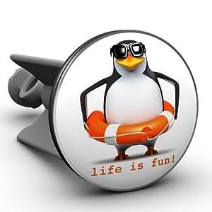 Pinguin life is fun,superwitziger Waschbecken Stöpsel, das Original von Plopp®, Qualität made in Germany