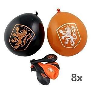 KNVB - Globos de fútbol (8 Unidades), Color Naranja y Negro