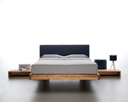 MAZZIVO Smooth Hochwertiges Holz Bett schlicht & zeitlos filigran modern edel & elegant - italienisches Design 120 140 160 180 200 Überlänge Eiche Erle Buche Esche Kirschbaum (Erle, 120 x 220 cm) -