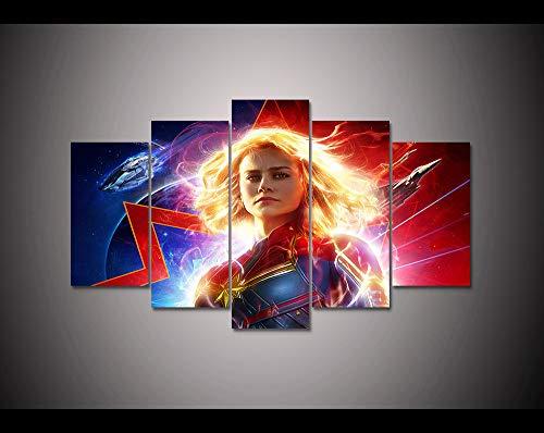 CANPIC Science Fiction Movie Poster 5 Panel leinwand drucken malerei Captain Marvel Home Decor wandkunst Bild Für Wohnzimmer, 40X60 40X80 40X100 cm (Decor Home Marvel)
