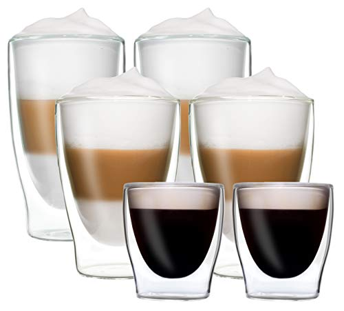 DUOS 6er-Set doppelwandige Thermo-Gläser 2X 80ml Espresso / 2X 310ml Latte Macchiato / 2X 400ml Longdrink - je im 2er-Set verpackt, by Feelino