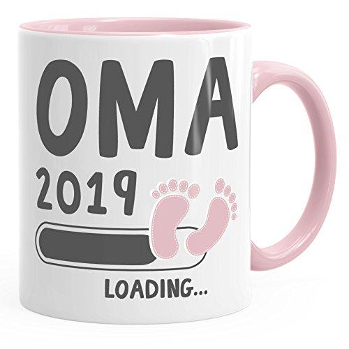 MoonWorks Kaffee-Tasse Oma 2019 Loading Geschenk-Tasse für Werdende Oma Schwangerschaft Geburt Baby Tee-Tasse rosa Unisize