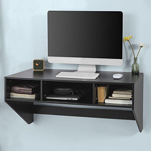SoBuy FWT14-SCH Wandtisch Wandschrank Schreibtisch Computertisch Arbeitstisch in Schwarz, BHT ca: 90x44x48cm