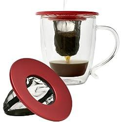 Primula Single Serve Coffee Brew Buddy–Fast Passform Universal–Ideal für Reisen–Umweltfreundlich wiederverwendbar feinmaschigen Filter–Spülmaschinenfest–Rot