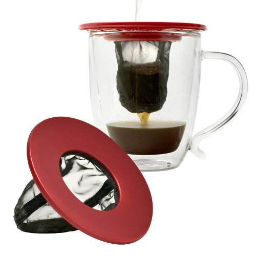 Primula Single Serve Coffee Brew Buddy – Fast Passform Universal – Ideal für Reisen – Umweltfreundlich wiederverwendbar feinmaschigen Filter – Spülmaschinenfest – Rot