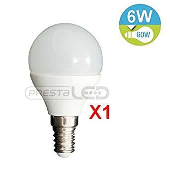 PRESTALED - AMPOULE LED E14 G45 6W BLANC CHAUD 480 LUMENS EQUIVALENCE INCANDESCENCE 60W